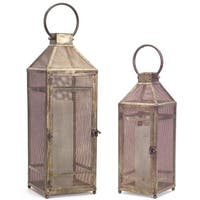 "Set of 2 Brown Rustic Gold Tone Antique Mesh Metal 19""H and 25""H Lanterns"