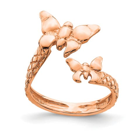 14K Rose Gold Polished and Textured Butterfly Toe Ring by Versil