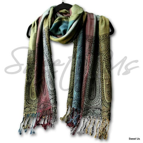 Large Scarf for Women Reversible Soft Paisley Floral Striped Rayon Scarf Shawl - 66 x 24 inches