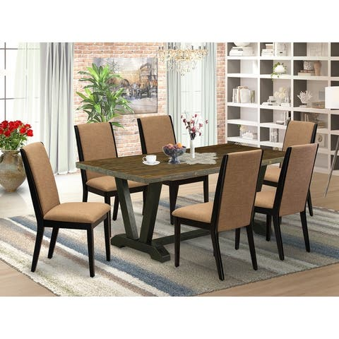 V677LA147-5 5-Piece Modern Dining Set a Distressed Jacobean Kitchen Table and 4 Linen Fabric Padded Chairs