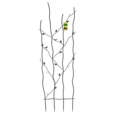 60-inch High Metal Garden Trellis with Climbing Vine Leaf Design - 24 x 0.2 x 72 inches