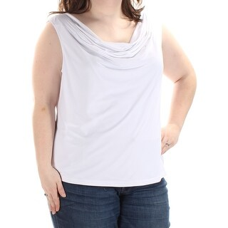 Womens White Sleeveless Scoop Neck Wear To Work Top Size 2X