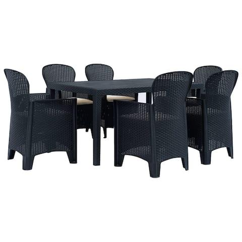 vidaXL 7 Piece Outdoor Dining Set Plastic Anthracite Rattan Chair