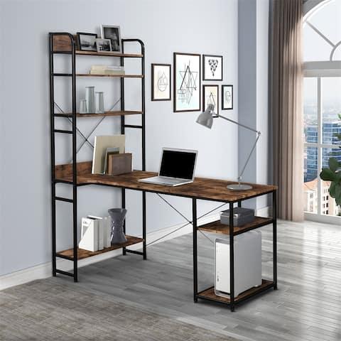 Merax Home Office Computer Desk with 5 Tier Open Bookshelf