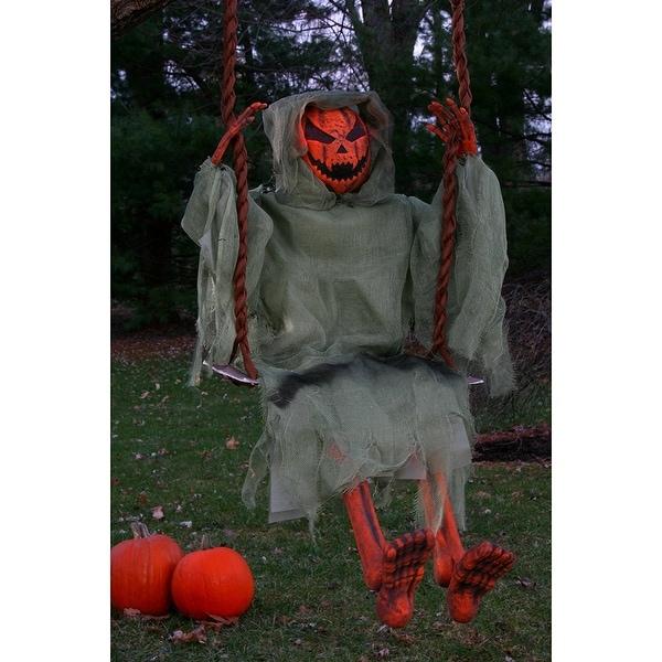 "36"" Pumpkin Man on Swing Hanging Halloween Décor"