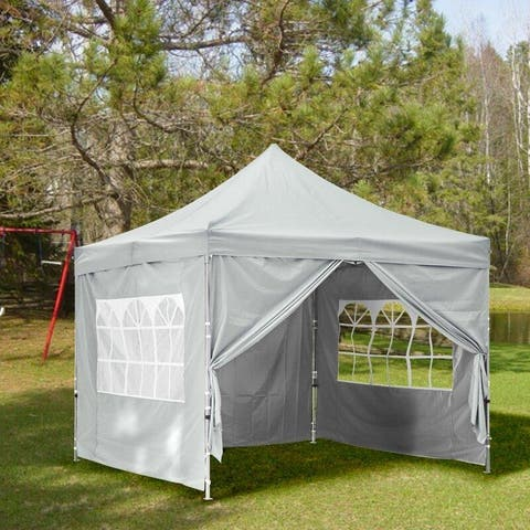 Zenova 10x10 Pop Up Canopy Tent Instant Folding Shelter With 4 Sidewalls