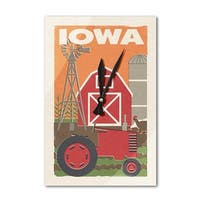 Iowa - Country - Woodblock - Lantern Press Artwork (Acrylic Wall Clock) - acrylic wall clock