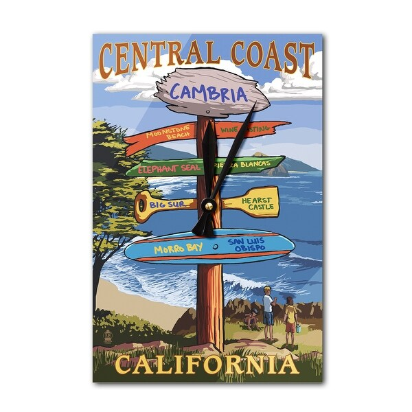Cambria, CA Central Coast - Dest Sign - LP Artwork (Acrylic Wall Clock) - acrylic wall clock