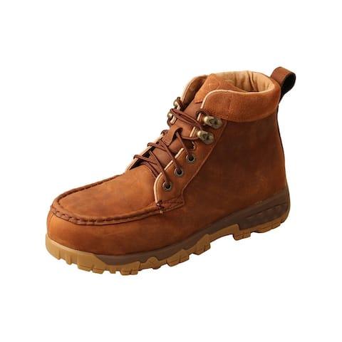 "Twisted X Work Boots Womens 4"" Alloy Toe Leather Saddle - Oiled Saddle"