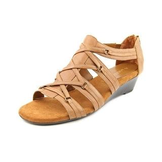 Aerosoles Yetiquette Women Open Toe Leather Tan Wedge Sandal