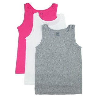 Fruit of the Loom Girl's Cotton Tank Tops (Pack of 3)