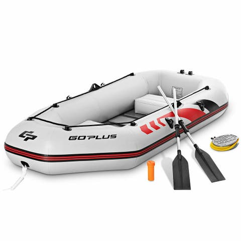Goplus 2-3 Persons Inflatable Fishing Boat w/ Oars and Air Pump Water