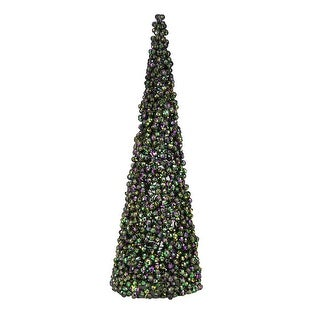 Set of 2 Regal Peacock Purple, Green and Gold Peacock Cone Christmas Tree Table Top Decoration 24""