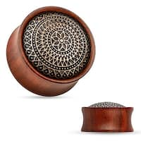 Lattice Pattern Antique Rose Wood Saddle Fit Plug (Sold Individually)