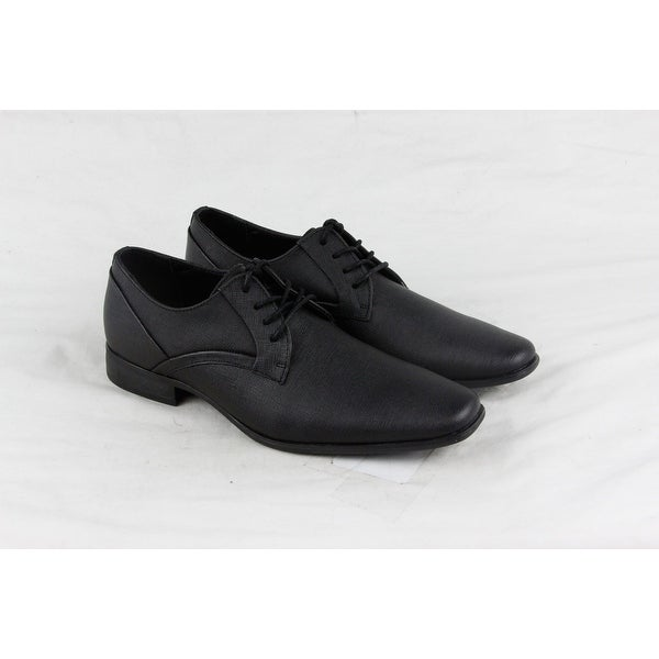 Calvin Klein Benton Weave Emboss Mens Black Leather Lace Up Oxfords Shoes