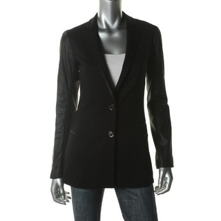 Theory Womens Lavey K Leather Trim Notch Collar Two-Button Blazer - 2