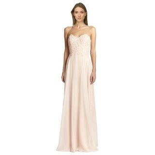 La Femme Floral Lace Top Strapless Sparkling Beaded Dress Gown - 8