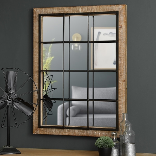 "Glitzhome 32""H Farmhouse Wooden Metal Windowpane Wall Mirror - 32"". Opens flyout."