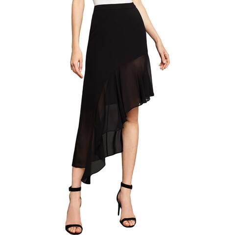BCBG Max Azria Womens A-Line Skirt Ruffled Asymmetric
