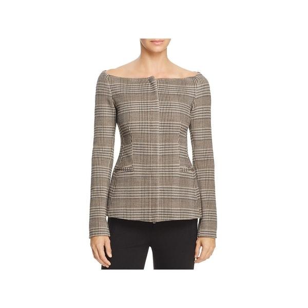 1fb306b79f Shop Theory Womens HADFIELD Basic Jacket Wool Off-The-Shoulder ...