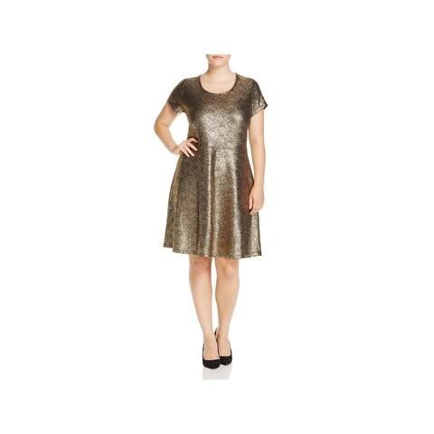 MICHAEL Michael Kors Womens Plus Flounce Dress Short Sleeves Knee-Length