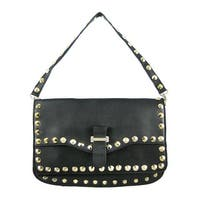 Brass Studded Black Leather Messenger Bag Purse