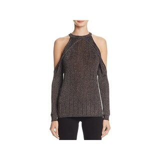 Guess Womens Sera Pullover Sweater Metallic Sheer