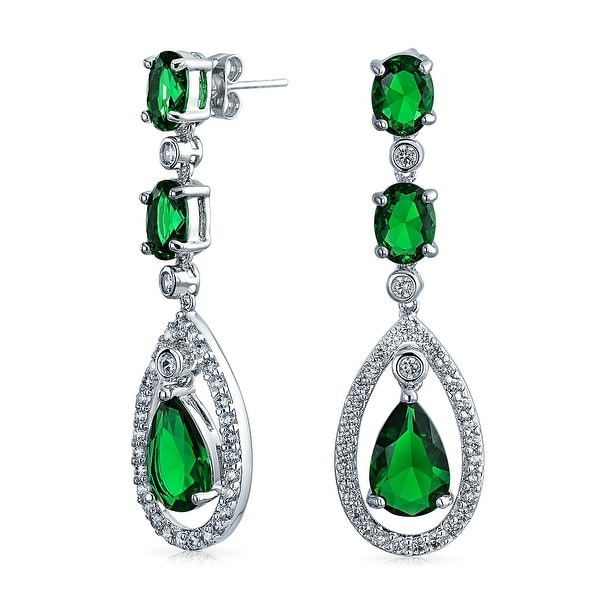 Bling Jewelry Pave Simulated Emerald CZ Teardrop Chandelier Clip On Earrings Rhodium Plated Brass I4AXyG