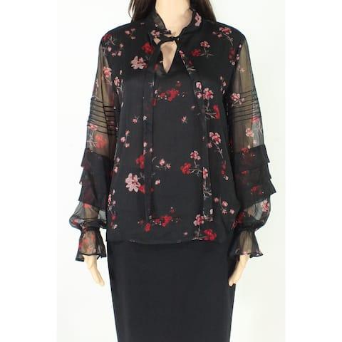 Lauren by Ralph Lauren Womens Blouse Black Size XL Floral Tie Neck