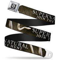 Winchester Logo Full Color Black White Supernatural Join The Hunt White Seatbelt Belt