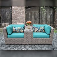 Delacora TKC-DPF-FLO03B Florence Outdoor 3 Piece Conversation Set with Fade Resi