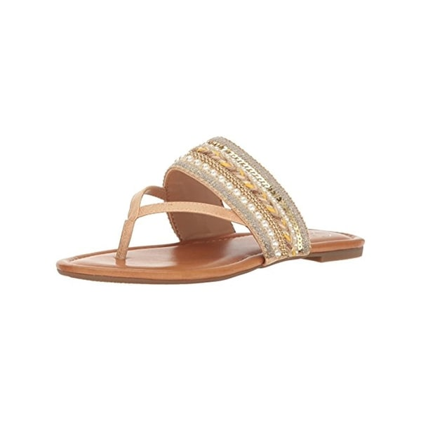 Jessica Simpson Womens Ronette Thong Sandals Metallic Sequined