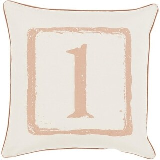 "20"" Mocha Brown and White ""1"" Big Kid Blocks Decorative Throw Pillow - Down Filler"