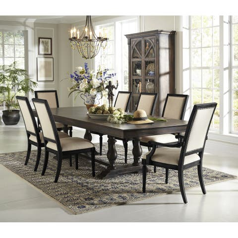 Distressed Brown Wood Double Pedestal Dining Table with Dropleaf Extensions