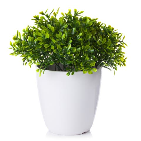 Enova Home Artificial Greenery Fake Plants in White Pot for Home Office Decoration