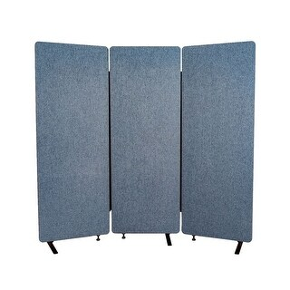 Offex Reclaim Acoustic Fabric Room Divider In Pacific Blue - 3 Pack