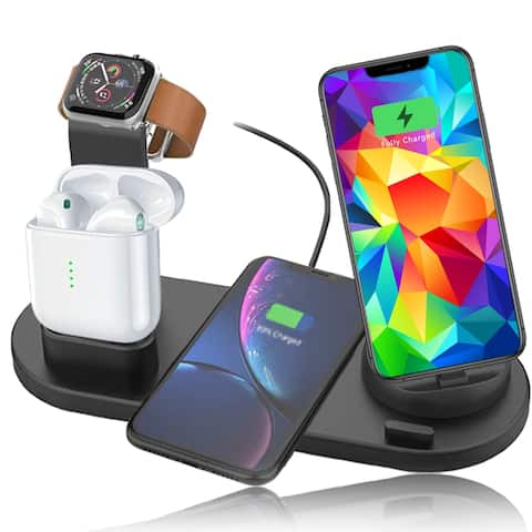 SmartPhone Charging Dock/Stand (USB-C, microUSB, iOS Connector) 10W Universal Wireless Charging Pad, EarPod & iWatch Mount