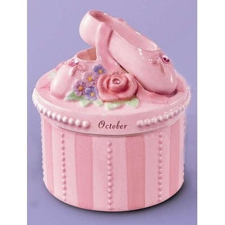 A Time to Dance Classics October Ballerina Trinket Box by Russ Berrie - Pink