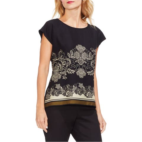 Vince Camuto Womens Ornate Paisley Pullover Blouse, black, X-Small