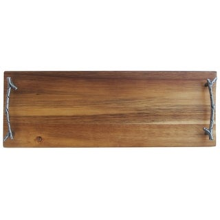 American Atelier Rectangular Wooden Party Serving Platter with Metal Twig Designed Handles