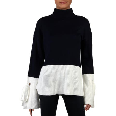 Alison Andrews Womens Sweater Long Sleeve Colorblock - Navy - L