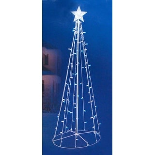5' Blue & White LED Lighted Outdoor Twinkling Christmas Tree Yard Art Decoration