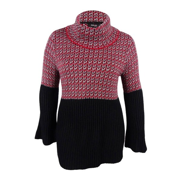 Shop Style Co Womens Plus Size Jacquard Cowl Neck Sweater New