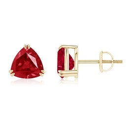 Classic Solitaire Trillion Cut Ruby Stud Earrings