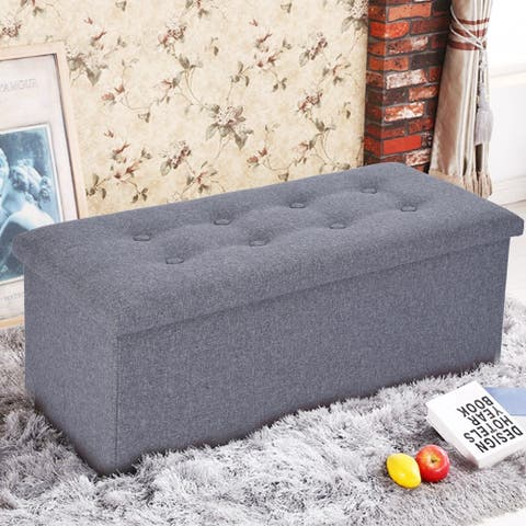 Linen Foldable Storage Stool Fabric Storage Ottoman Change Shoes Sofa Stool - 30 x 15 x 15 inches