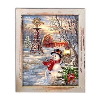 """10"""" White and Red LED Lighted Winter Windmill Christmas Rectangular Shadow Box Decoration"""
