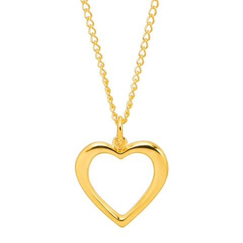 Open Heart Silhouette Pendant in 10K Gold with Gold-Filled Chain - Yellow