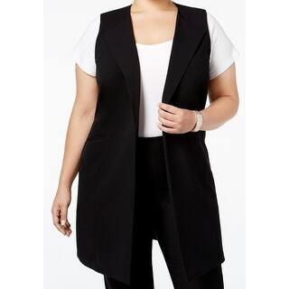 Nine West NEW Black Womens Size 18W Plus Open Front Long Vest Jacket|https://ak1.ostkcdn.com/images/products/is/images/direct/c7462f1e53f7e573288dd5b3234843771d6eba88/Nine-West-NEW-Black-Womens-Size-18W-Plus-Open-Front-Long-Vest-Jacket.jpg?impolicy=medium