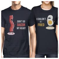 Bacon And Egg Matching Couple Gift Shirts Navy For Husband and Wife