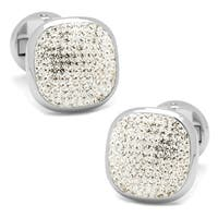 Elegant Clear Pave Crystal Silver Plated Cufflinks